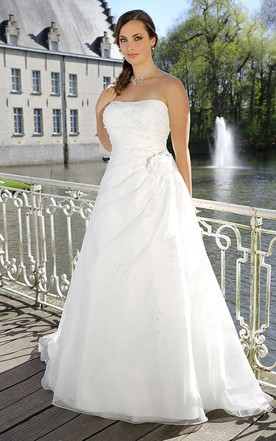 A-Line Long Strapless Long Sleeve Satin Cape Draping Flower Draping Dress