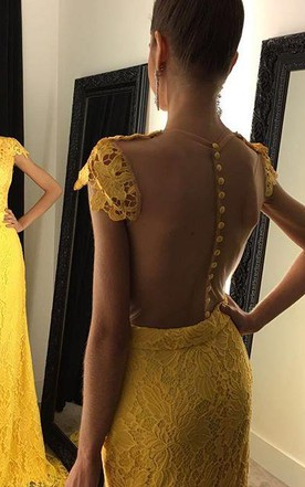Modern Yellow V-neck 2016 Prom Dress Cap Sleeve Lace