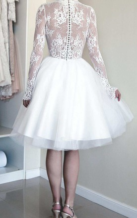 Ball Gown Short Mini Illusion Sleeve Tulle Satin Taffeta Lace Wedding Dress