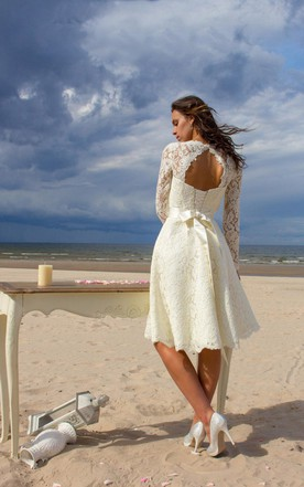 Jewel Neck Long Sleeve Lace Short Wedding Dress With Satin Sash