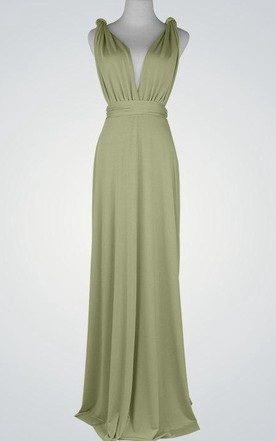 Maxi Green Bridesmaid Prom Light Green Multiway Cocktail Infinity Convertible Wrap Dress