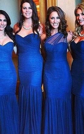 Y Mermaid Royal Blue Bridesmaid Dress 2018 Ruched Sleeveless