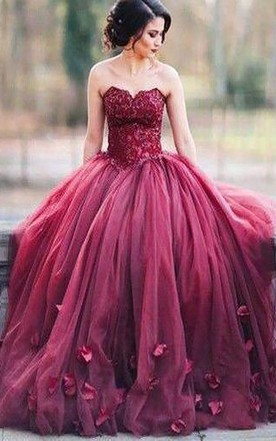 4c0d986fc64f Ball Gown Sleeveless Sweetheart Applique Floor Length Tulle Dress