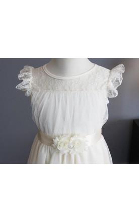 5867f9dc90 Ruffled Sleeve High Neck Long Tulle Dress With Satin Baptism Ribbon Sash ...