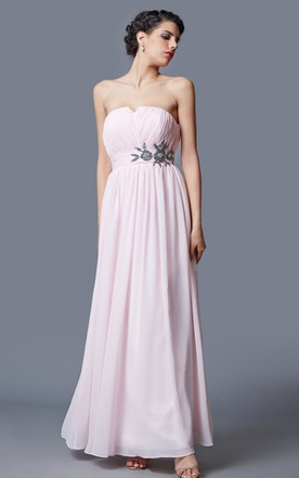A-line Sleeveless Pleated Chiffon Gown With Beaded Detail Belt