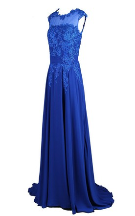 Sleeveless High Neck Appliqued Bodice Long Chiffon Dress