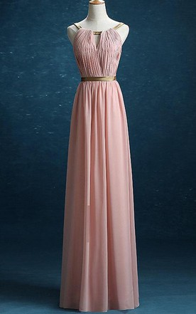Floor Length Chiffon Satin Dress