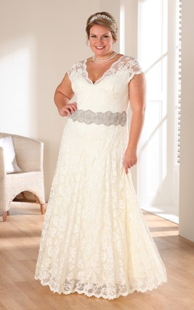 A Line Long V Neck Cap Lace Appliques Dress ...