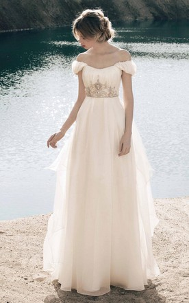 Grecian wedding gowns greek inspired style bridals dresses june bohemian organza crystals crown decor princess gown junglespirit Image collections