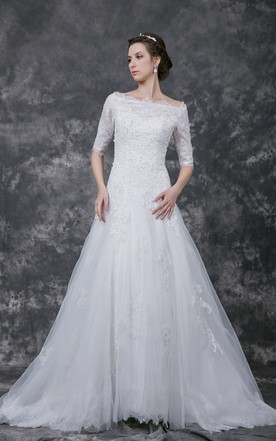 74b95d5c4dc Illusion Half Sleeve A-line Tulle Gown With Lace Appliques and Beading ...