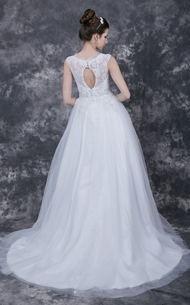 1950's Vintage-inspired Bateau Illusion Neckline Bridal Gown with Keyhole