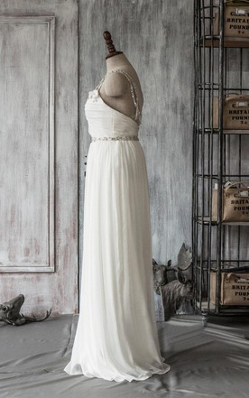 Spaghetti Strap Long A-Line Chiffon Wedding Dress With Crystal Beaded Sash