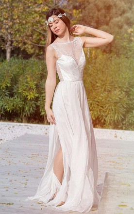 e99895da8ef Bateau Sleeveless Split Front Lace Chiffon Backless Wedding Dress ...