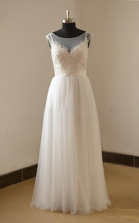 A-Line Tulle Bateau Neck Cap Sleeve Wedding Dress With Satin Sash
