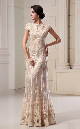 Merveilleux Romantic High Neck Column Maxi Dress With Lace Appliques ...
