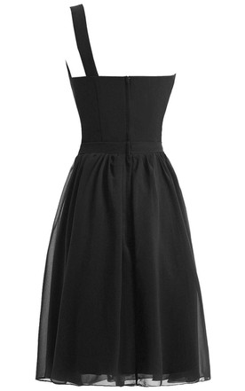 One-shoulder A-line Chiffon Dress With Pleats