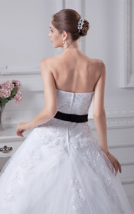 Strapless Tulle A-Line Ball Gown with Ribbon and Appliques