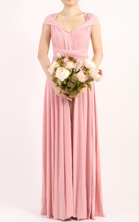 Rose Pink Long Floor Length Ball Gown Infinity Convertible Formal Multiway Wrap Bridesmaid Party Evening Wedding Dress