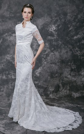 Modest style wedding dress cheap affordable conservative bridals vintage scalloped edge neckline lace bridal gown with half sleeves junglespirit Image collections