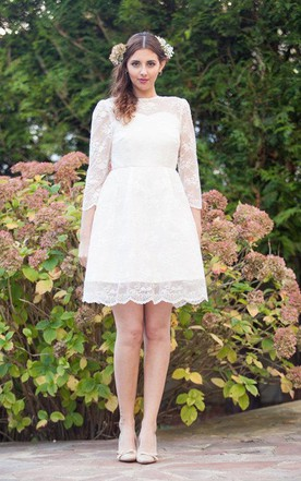 Short white lace wedding dress june bridals short knee length long sleeve court train lace satin dress junglespirit Choice Image