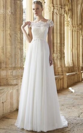 46f436015 A-Line Cap Sleeve Empire Bateau Neck Lace Tulle Wedding Dress ...