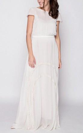 228b4867fd Short Sleeve Floor-length Chiffon Lace Dress ...