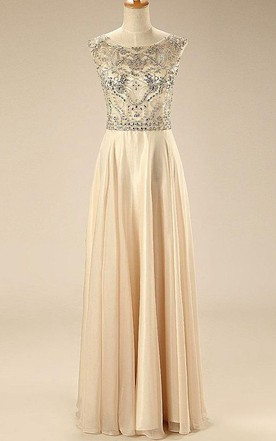 A-line Cap Sleeve Backless Chiffon Dress With Beading