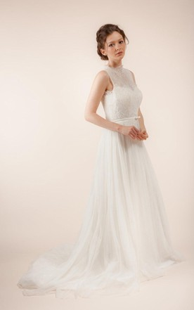 Long Sleeveless A Line Tulle Wedding Dress With Sheer Back ... Great Pictures