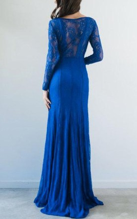 Bateau Lace Long Sleeve Illusion Dress