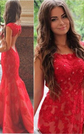 Sexy Red Lace Appliques Mermaid Evening Dress 2016 Sweep Train Jewel