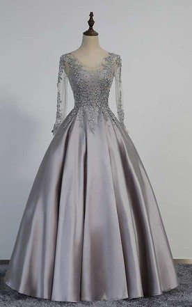 e079b59fe135e Illusion Long Sleeve V Neck Pleated Satin Ball Gown With Lace Detailing ...