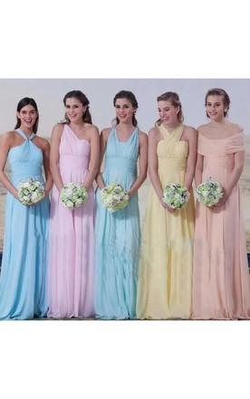 a80918c6db3 A-line Halter Sleeveless Floor-length Chiffon Bridesmaid Dress with Pleats  ...