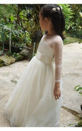 Long Sleeve Sweetheart Neck Long Tulle Dress With Satin Sash