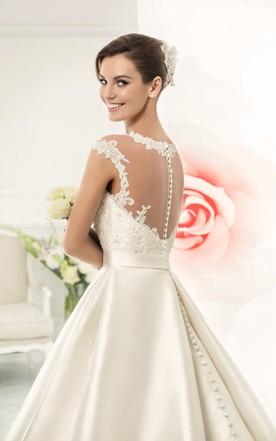 52dd12ff0 ... Jeweled Neck Cap Sleeve A-line Satin Wedding Dress With Lace Bodice