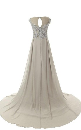 Cap-sleeved A-line Gown With Beaded Bodice