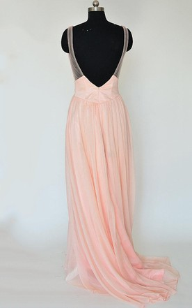 A-line V-neck Sweep Train Chiffon Dress