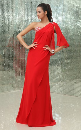 Graceful A-Line Chiffon Gown With Side Drap And Sequins