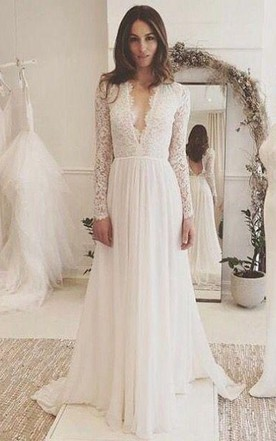 00cd6631453 V-neck Long Sleeves Backless Ivory Chiffon Wedding Dress with Lace ...