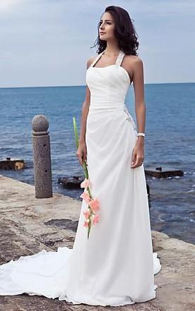 Halter top wedding dresses halter wedding dresses june bridals sheath column halter court train chiffon wedding dress junglespirit Choice Image