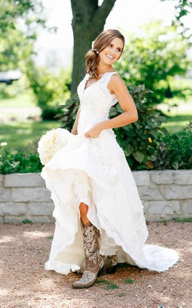 5e8dbb83bacf Country Style V Neck Cap Sleeves Boho Layers Sheer Sexy Bridal Gown ...