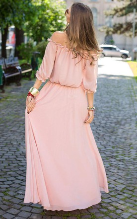 Floor-length Off-the-shoulder Chiffon&Jersey Dress