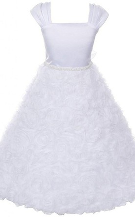 Flower girl dresses kids wedding gowns june bridals cap sleeved square neck a line dress with beadings junglespirit Gallery