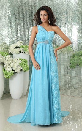 Empire Asymmetrical Chiffon A-Line Gown With Pleating