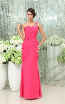 Noble Asymmetrical One-Shoulder Graceful Column Dress With Floral Waist