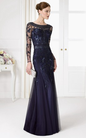 Trumpet Beaded Floor Length Long Sleeve Scoop Neck Tulle Prom Dress With Sequins