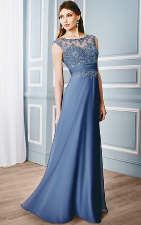 be9e737c798 Sheath Cap-Sleeveless Bateau Floor-Length Appliqued Formal Dress With Illusion  Back ...