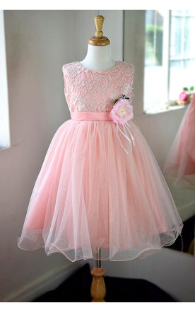 Sleeveless Jewel Neck Lace Bodice A-line Tulle Dress With Satin Belt