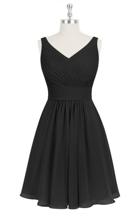 A-Line Sleeveless Chiffon Dress With V-Neck and Ruching