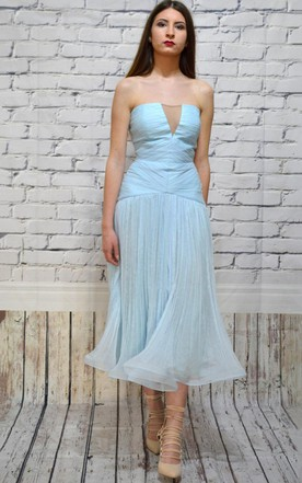 Strapless A-Line Tea-Length Dress With Ruching