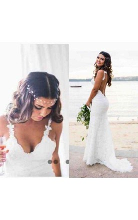 Back To Search Resultsweddings & Events Long White Ivory Summer Scoop Beach Lace A Line Sexy Bohe Side Split Lace Appliques Illusion Backless Bodices Wedding Bridal